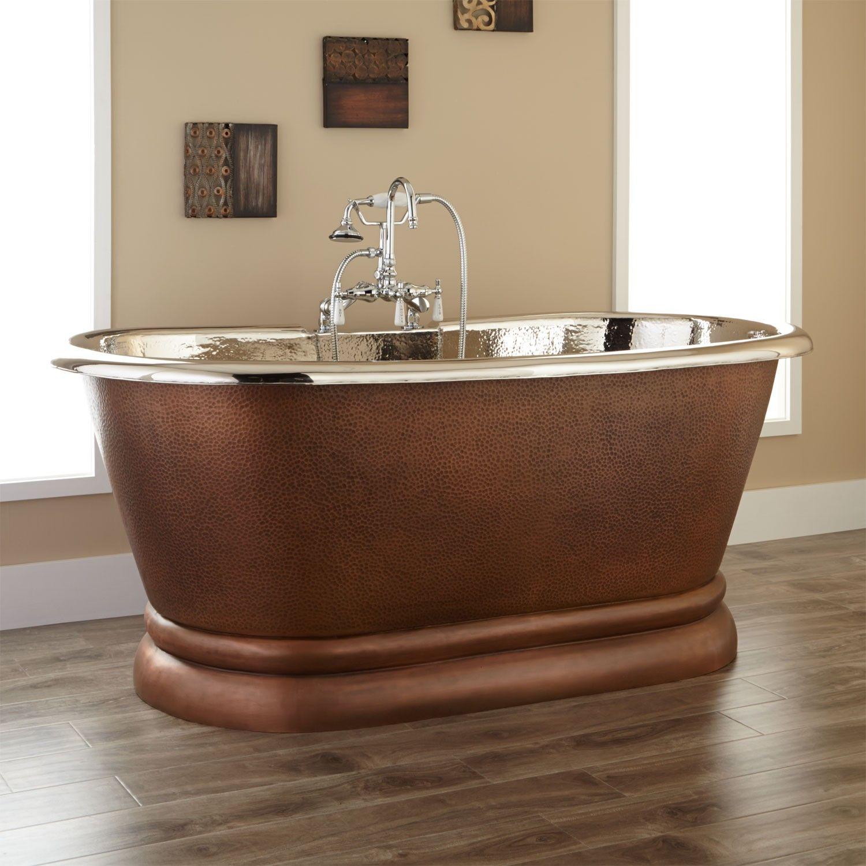 Kaela Copper Pedestal Tub   Nickel Interior   Bathroom