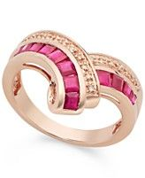 10k Rose Gold over Sterling Silver Ring, Ruby (1-1/4 ct. t.w.) and Diamond Accent Ring