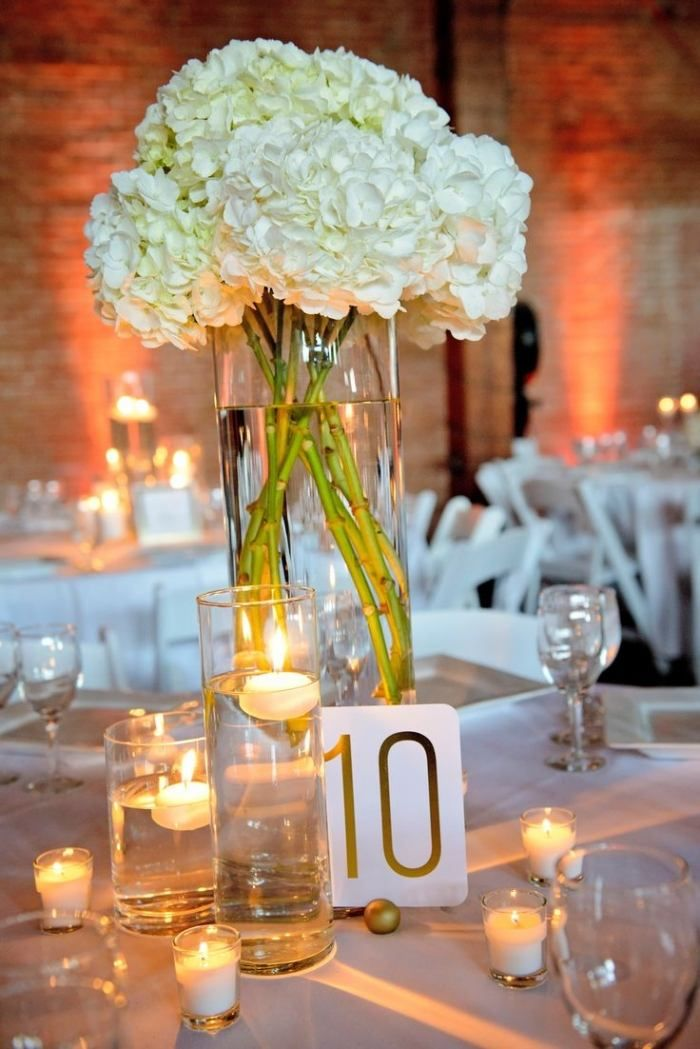 Tischdekoration mit Schwimmkerzen und weißen Hortensien Hochzeit - Deko Gartenparty Grun