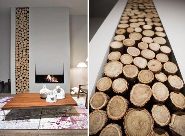 Fireplace Designs with Firewood Organizer by Antonio Lupi Log
