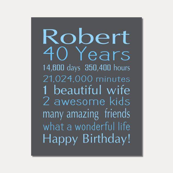 40th BIRTHDAY Gift MALE 40 Years Old Birthday By PrintsbyChristine