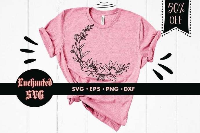Photo of Magnolia SVG, Magnolia Wreath SVG, Flower SVG, Flower SVG, Wreath SVG, Flower Wreath SVG, Flower Wreath SVG, Half Wreath SVG, SVG File