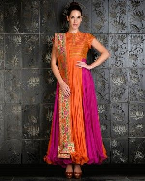 Orange and Fuchsia Kalidar with Brocade Yoke
