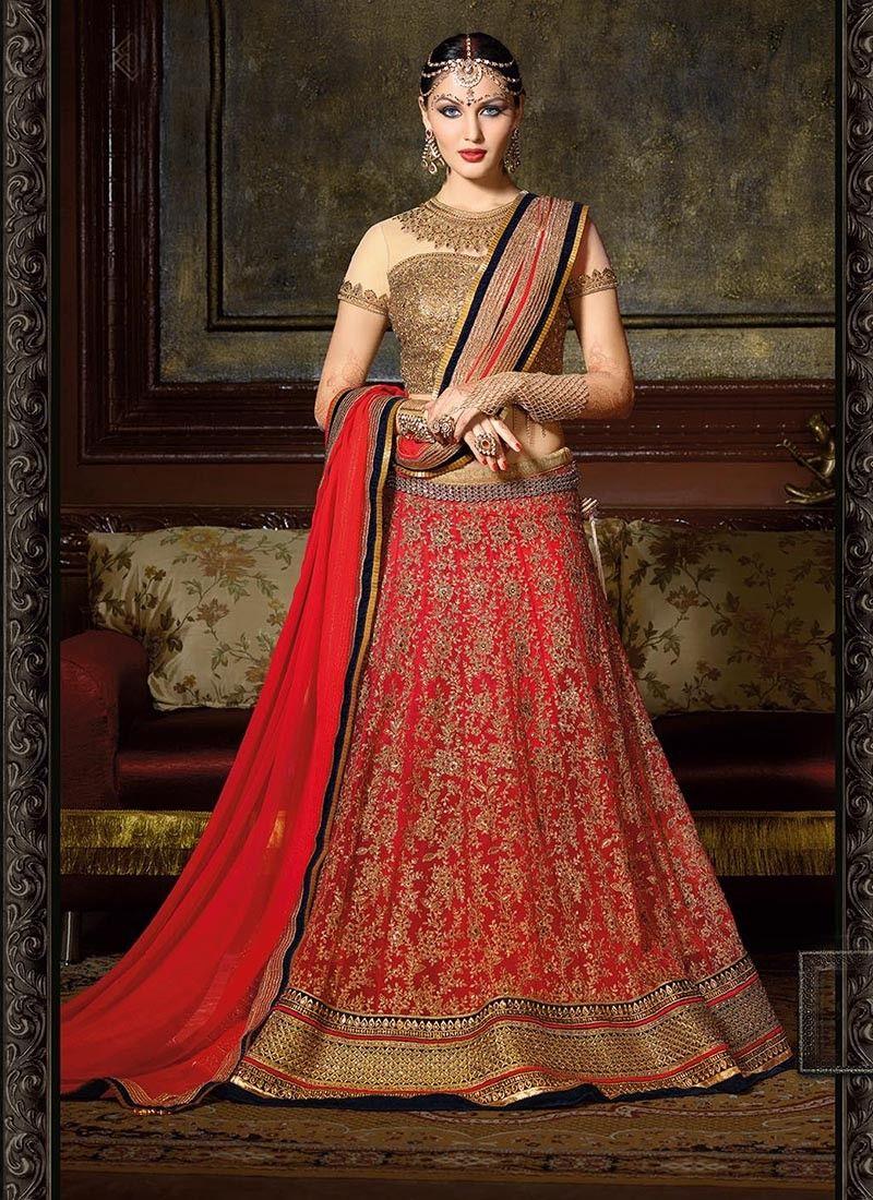 Beautiful Red And Cream Net Designer Lehenga Choli At Mauritius