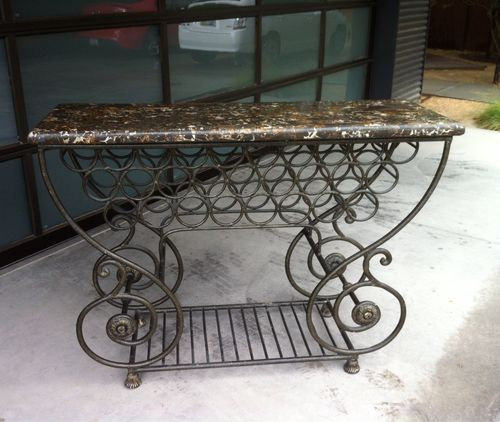 Substantial Tuscan Mediterranean Wrought Iron Marble Wine Rack