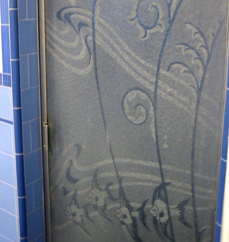 Mid Century Tropical Fish Shower Door Etched Glass Metal