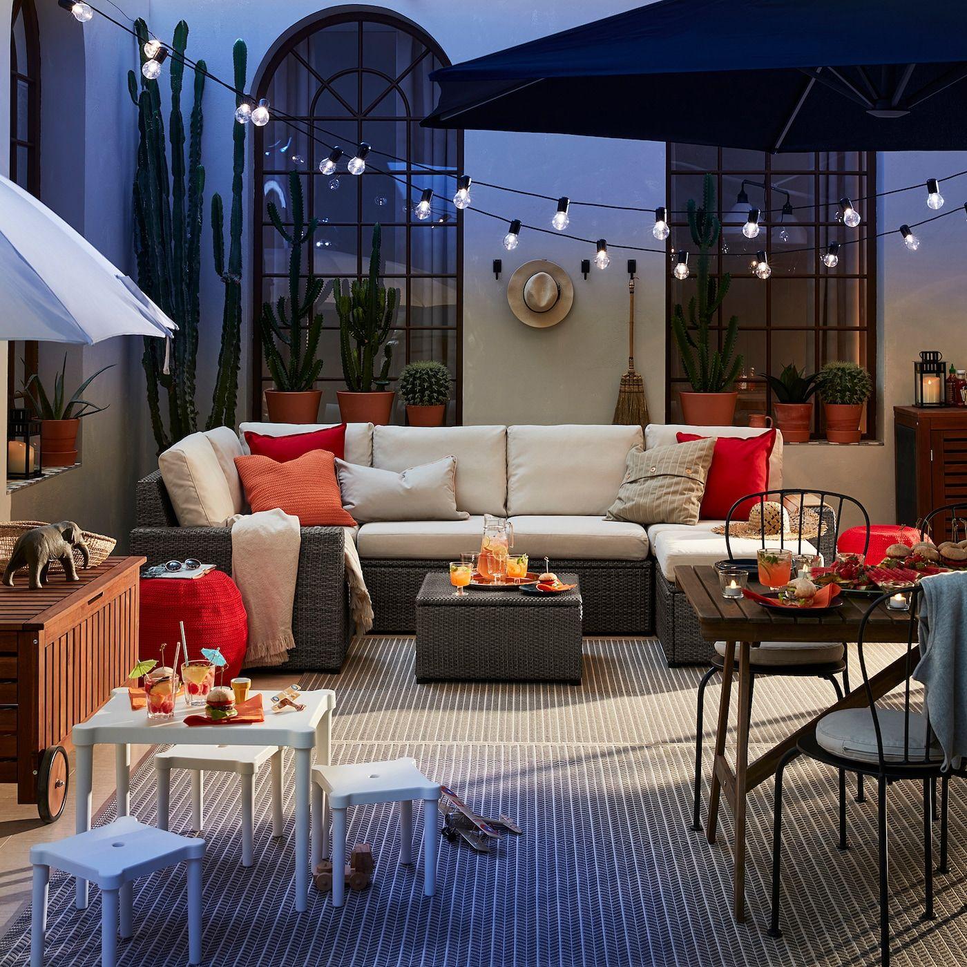 Solleron Modular Corner Sofa 4 Seat Outdoor With Footstool Dark Gray Froson Duvholmen Beige Ikea In 2020 Modular Corner Sofa Outdoor Patio Designs Patio Design