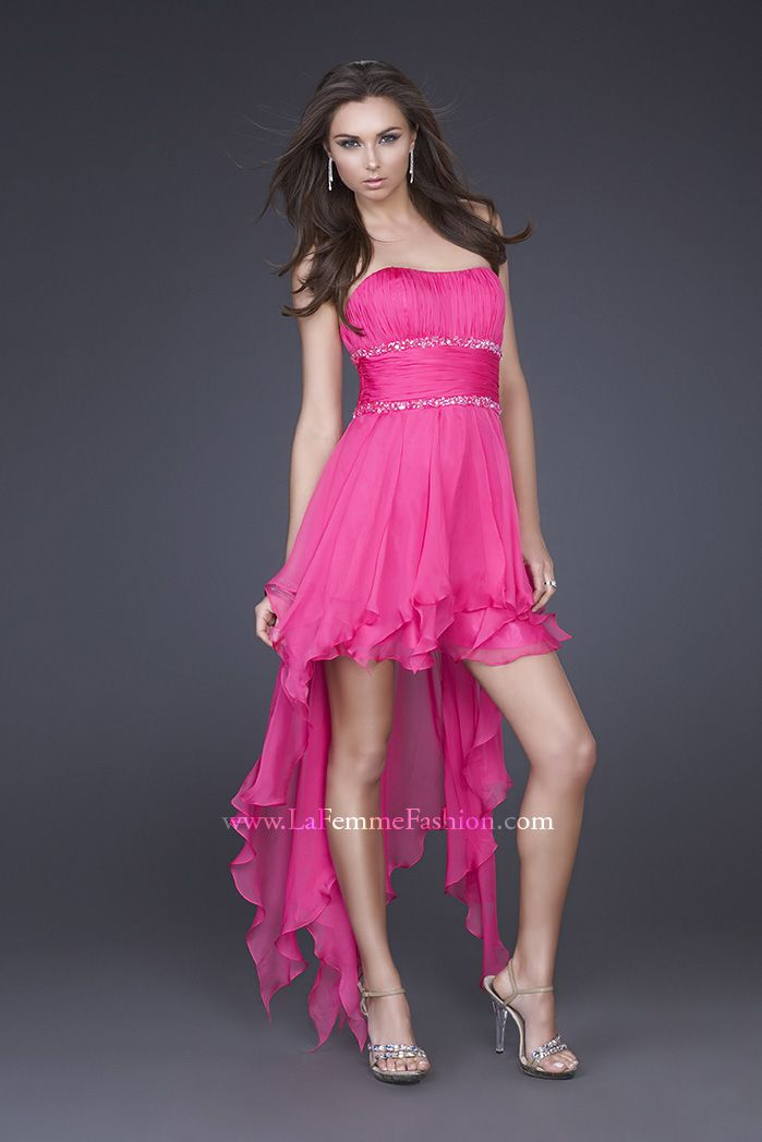 La Femme 15087 ~ Hot PInk ~ Front View ~ High low dress with corset ...