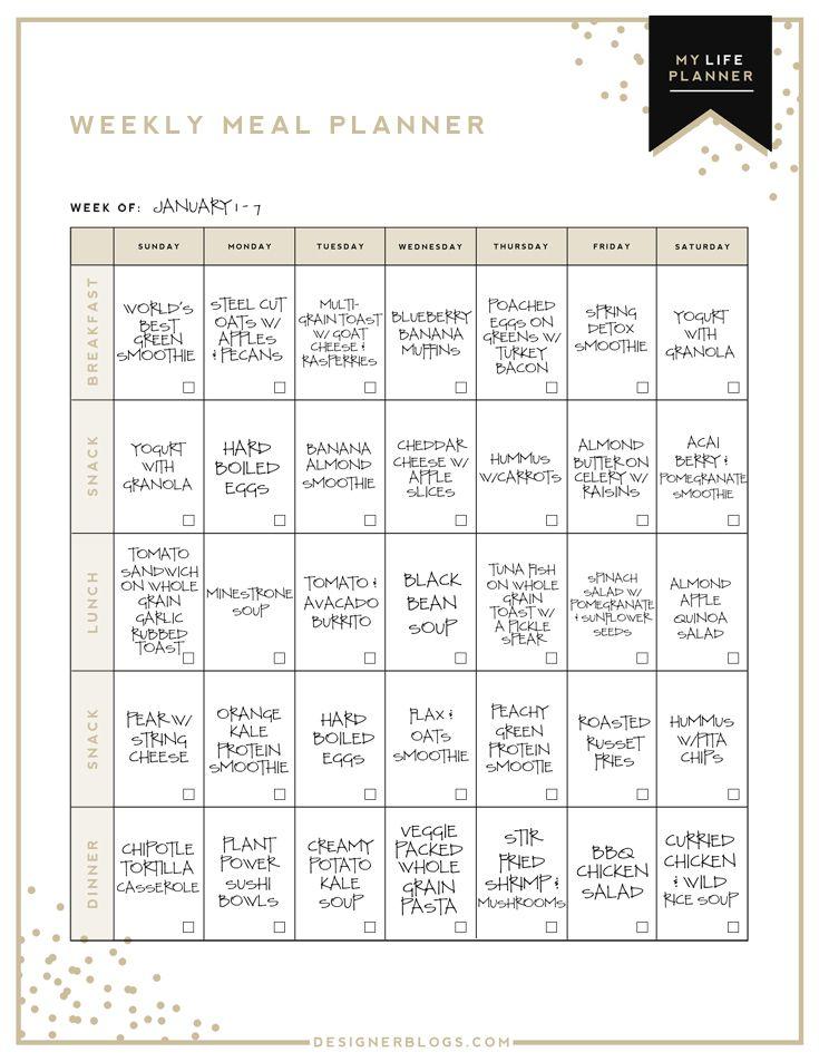 Sample Meal Plan  Meal Planning  Healthy Eating  Meal Planner