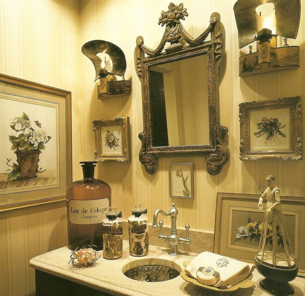 An antique french commode is transformed into a vanity for the classic french look
