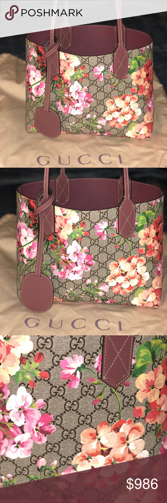 257278b91ecd50 GUCCI Blooms Reversible Tote Small GG Blooms Reversible Canvas & Leather