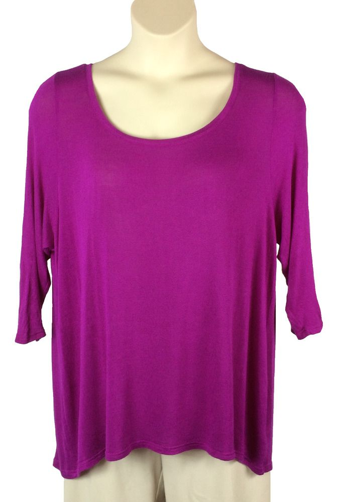 Womens Lane Bryant Purple Blouse Plus Size 18 20 Sheer Pleated Back