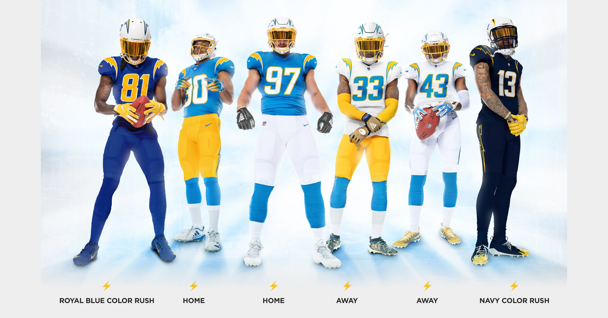 Los Angeles Chargers New Uniforms Uniswag In 2020 Nfl Uniforms Los Angeles Chargers Best Uniforms
