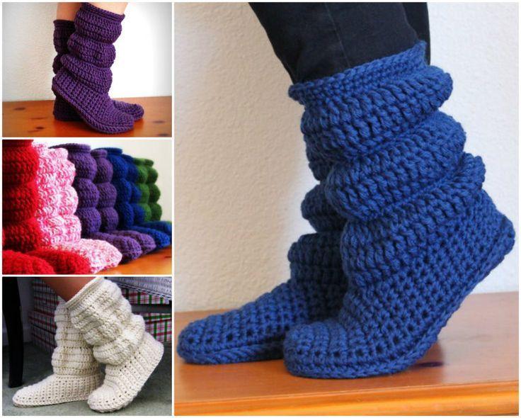 DIY Crochet Hollydoll Slipper Boots | Häkelmuster, Stricken häkeln ...