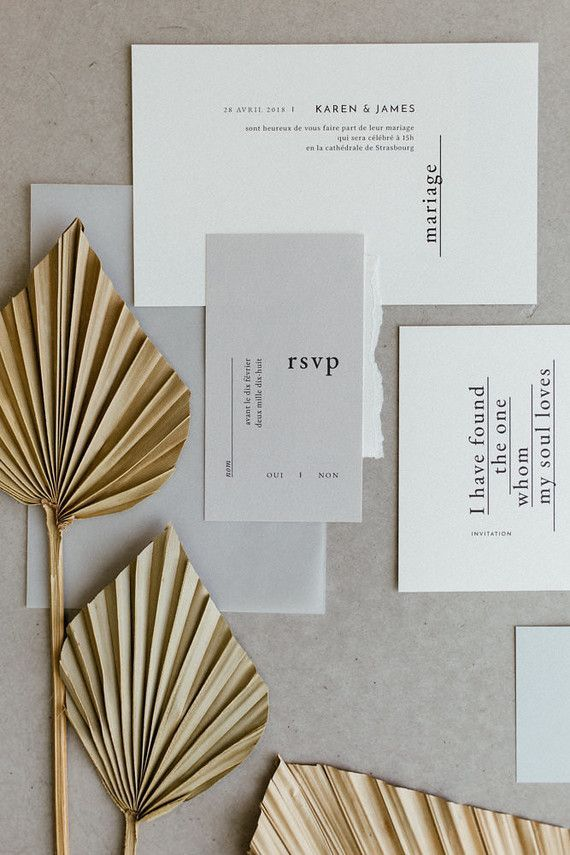 modern wedding invitation with dried palm fronds for styling – Wedding – # styling #the # FOR #dried #wedding egg