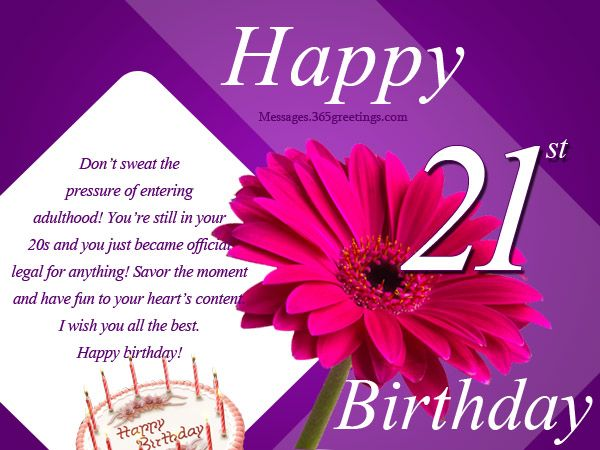 21st Birthday Wishes Messages and Greetings – Words for 21st Birthday Card