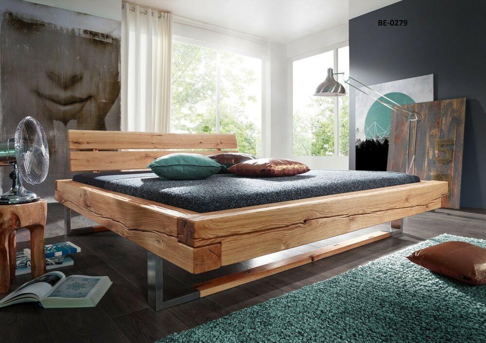 Bett BE0279 Wildeiche Massiv Geölt Schlafzimmer ohne