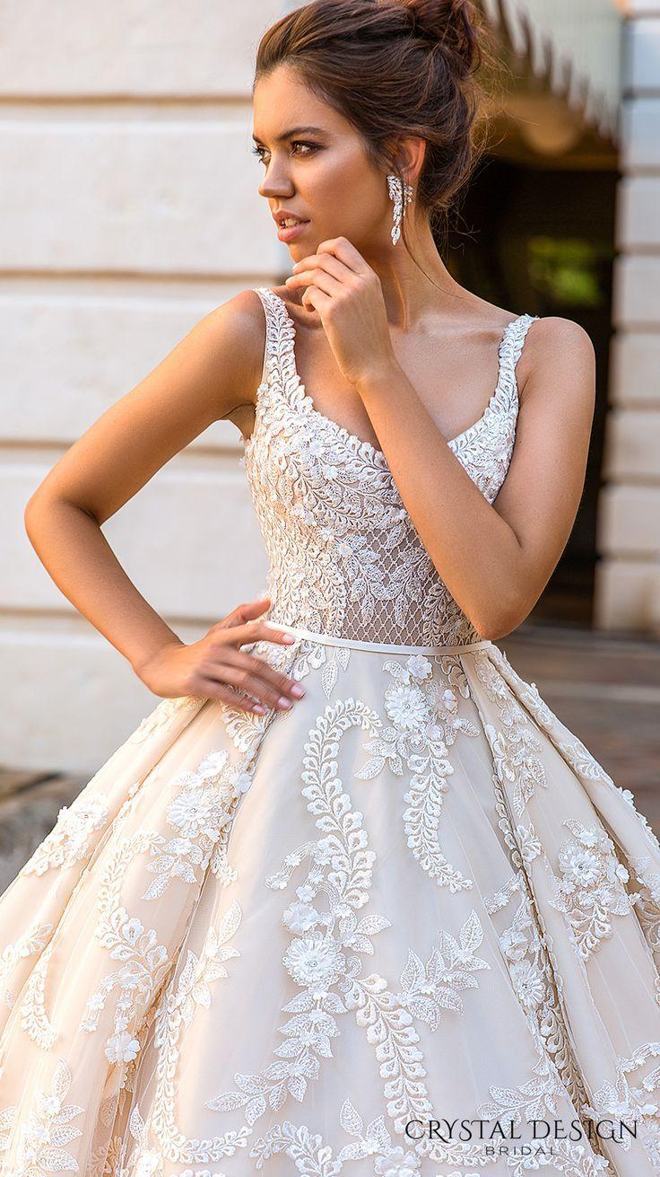 Famous wedding dresses  crystal design  bridal sleeveless with strap scoop neckline full