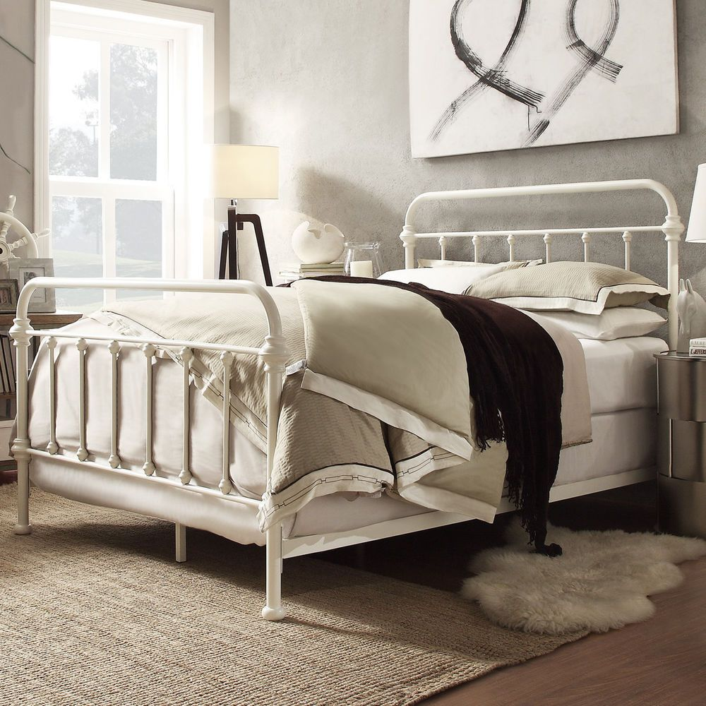 Metal Bed Frame Off White Antique Iron Full, Queen, King Sizes ...