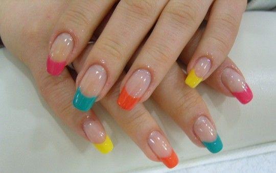 neon-tips-french-nails | Nail designs | French nail designs