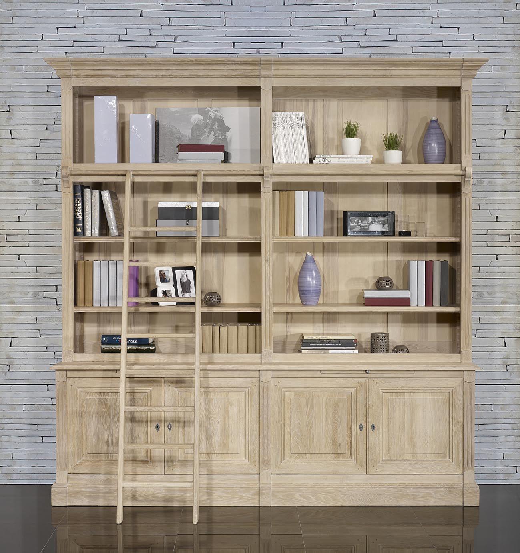 Biblioth Que 2 Corps 4 Portes R Alis E En Ch Ne Massif De Style  # Meubles Bas Bibliotheque Salon