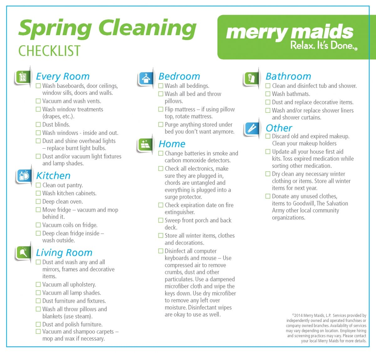 Merrymaids Put Together A Nice Spring Cleaning Checklist