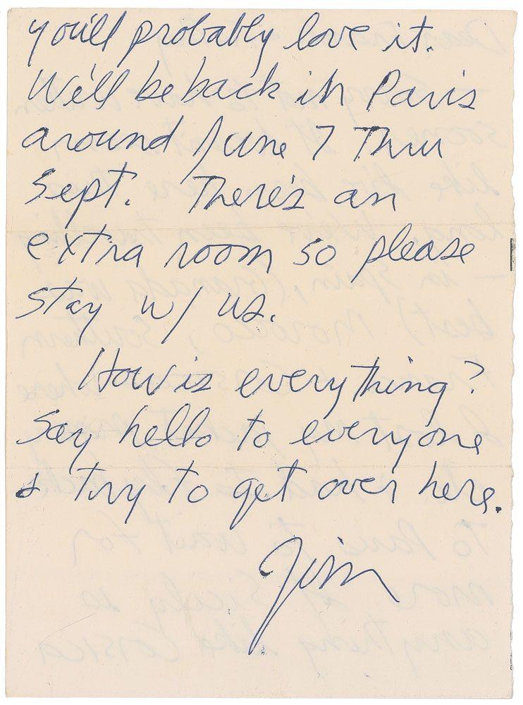 Rare 1971 Jim Morrison Letter Up for Auction   Jim Morrison ...
