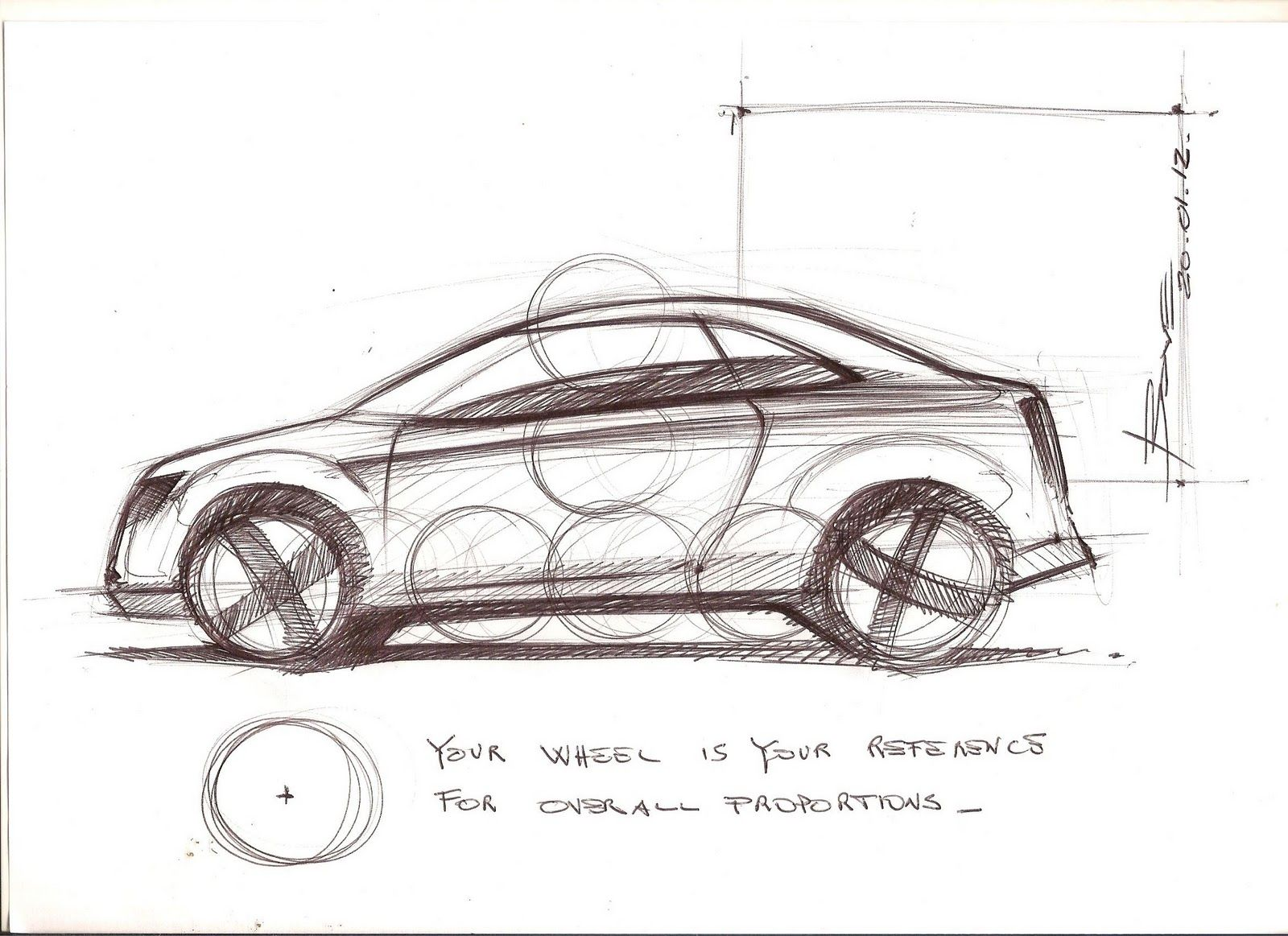 How To Draw A Car Sketch In Side View