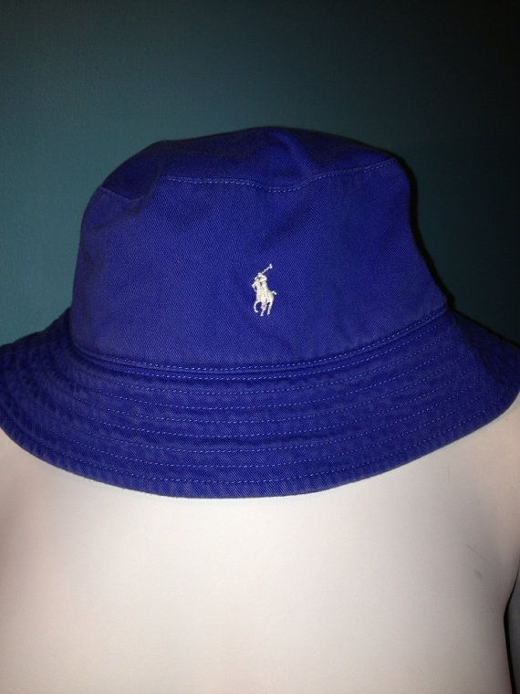 55ced019b2410 Vintage Royal Blue Polo Ralph Lauren Bucket Hat    Ready to Ship on Etsy