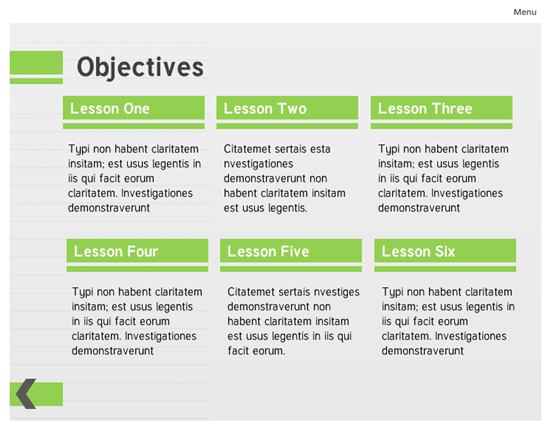 Lime Green Course Template Created In Storyline Elearning Elearning Templates Instructional Design