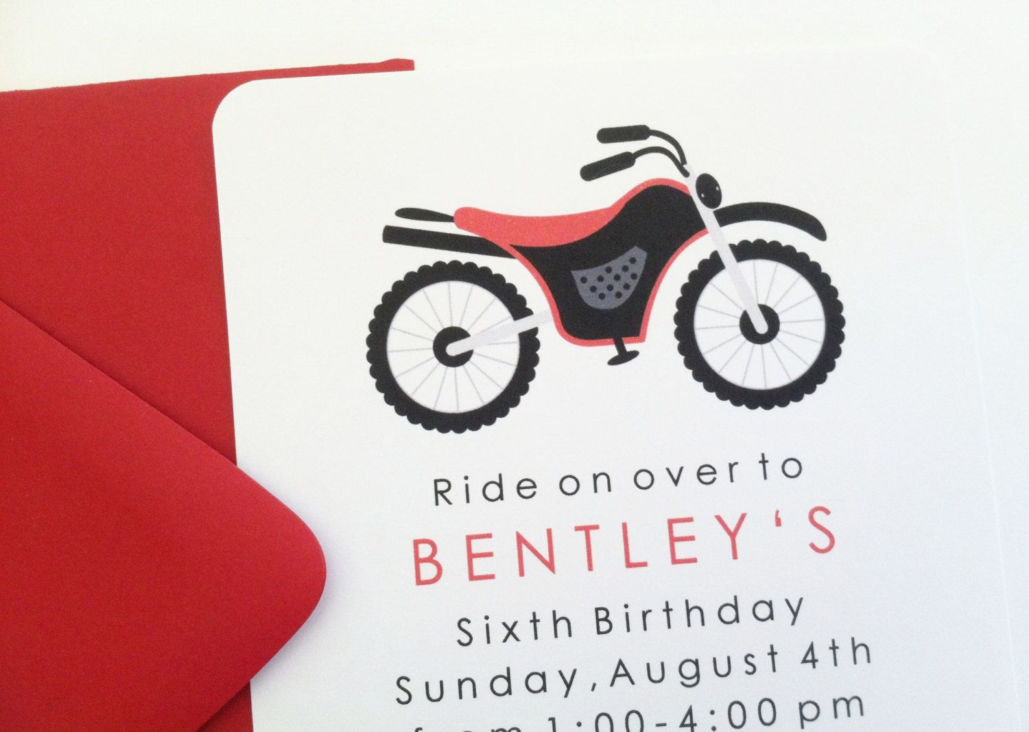 Red Dirt Bike Birthday Party Invitation | Tahlon 3rd Birthday ...