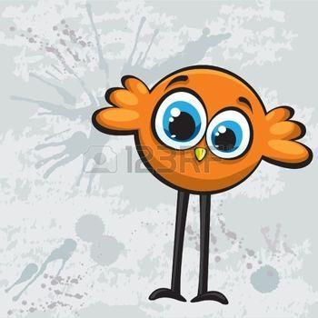 Funny Cartoon Orange Vogel photo