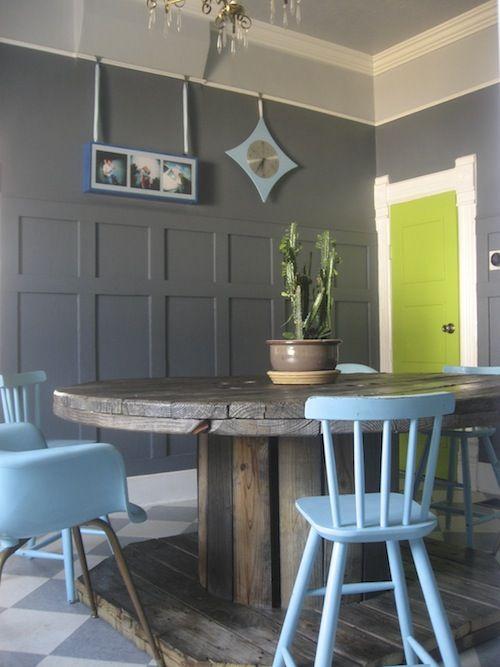 grey walls!  neon door!  paneling!