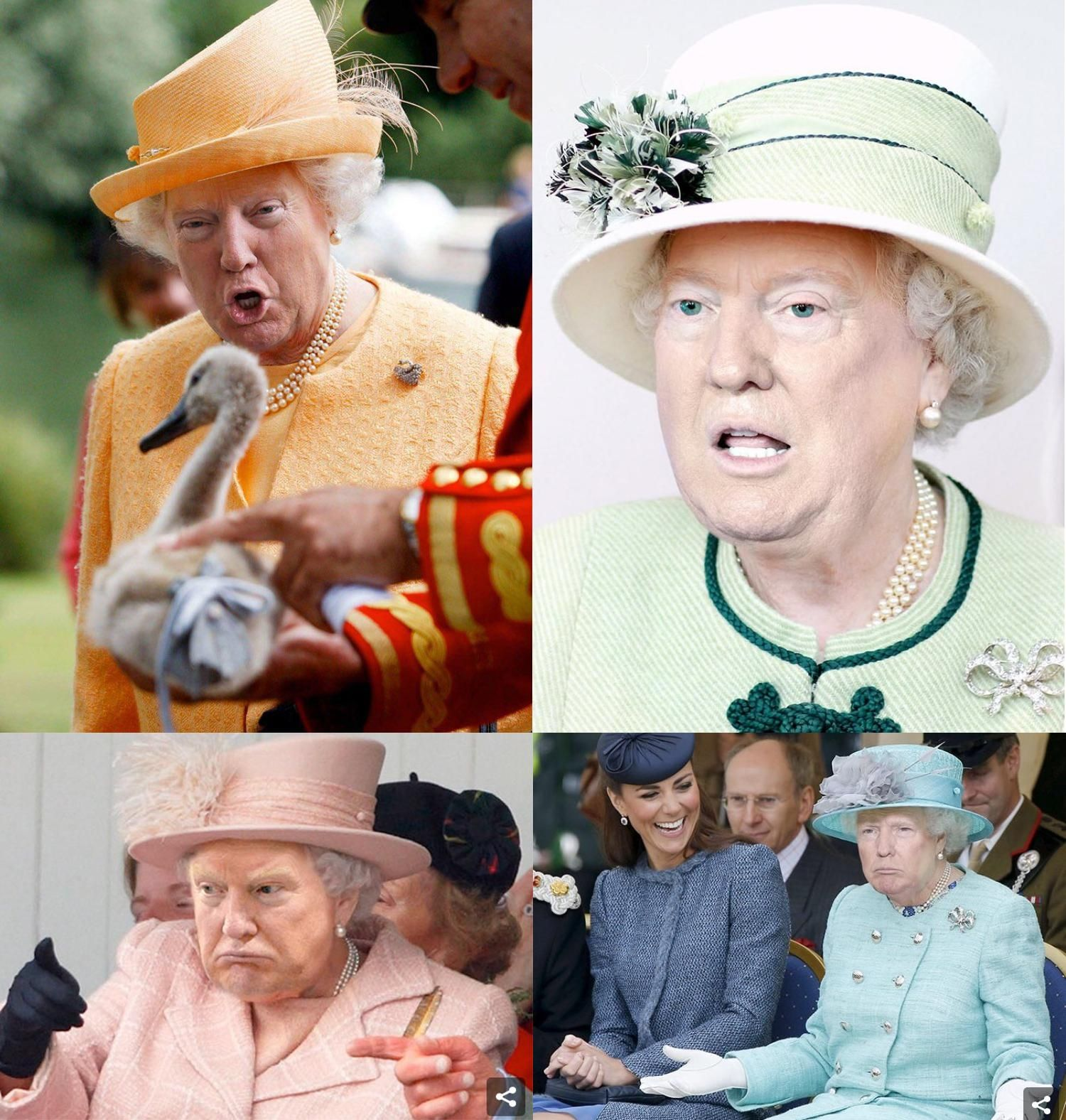 Photoshopping Trump S Face On The Queen Of England Is Art Queen Elizabeth Memes Queen Meme England Funny