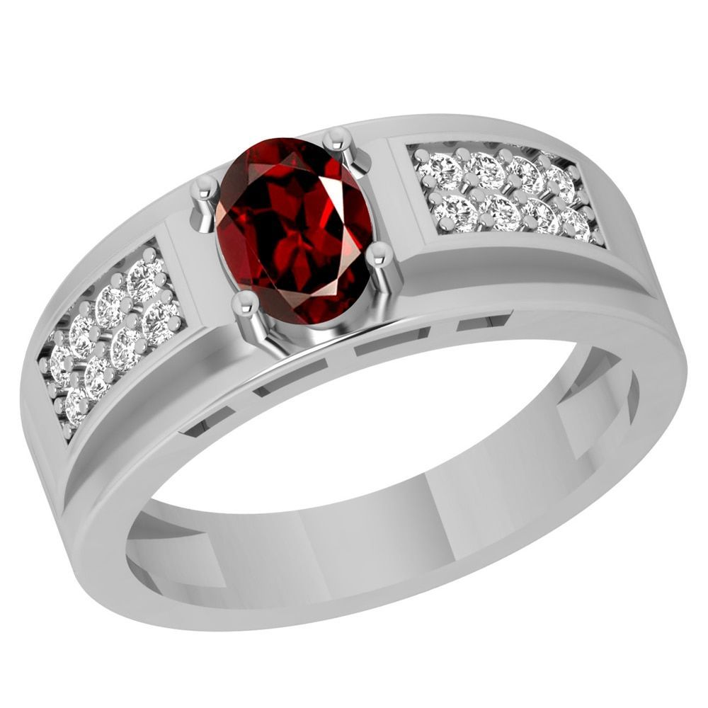 Orchid Jewelry Sterling Silver Father's Day Garnet and Topaz Ring
