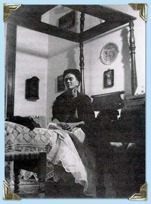 Frida sitting on bed, Coyoacán Photo credit: Bravo, Lola Alvarez