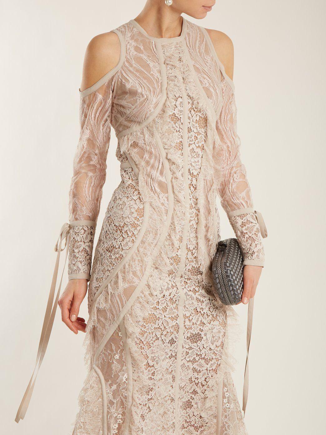Buy Cheap Excellent Fluted-hem floral-lace dress Elie Saab Perfect Online 3745i6NQnT