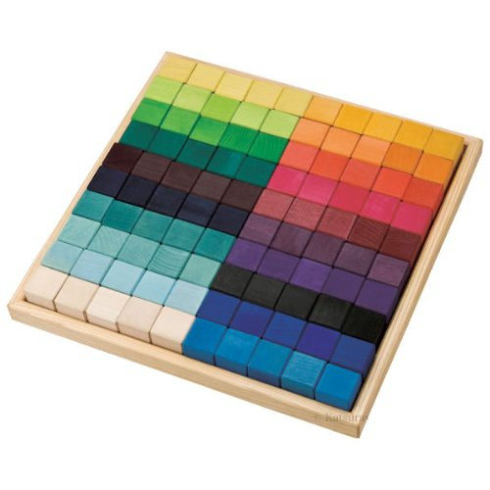 Grimm's Large Mosaic Square Building Set of 100 Wooden
