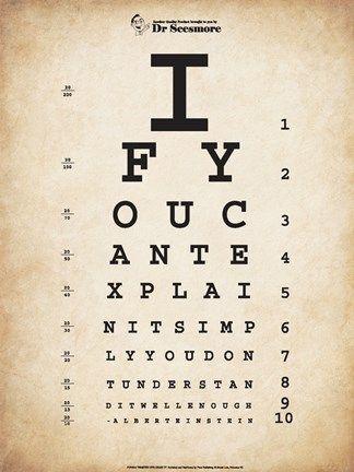 Einstein Eye Chart Ii Eye Chart Art Eye Chart Home Quotes And Sayings