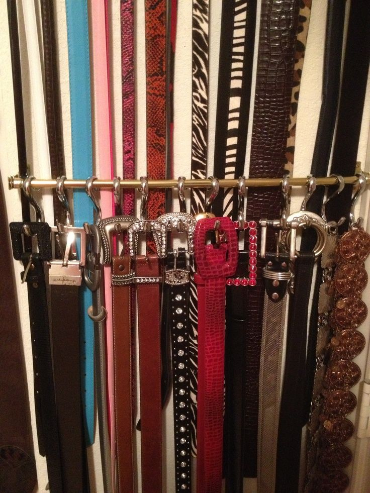 Use Curtain Rod Shower Curtain Hooks To Display Belts Stack 2