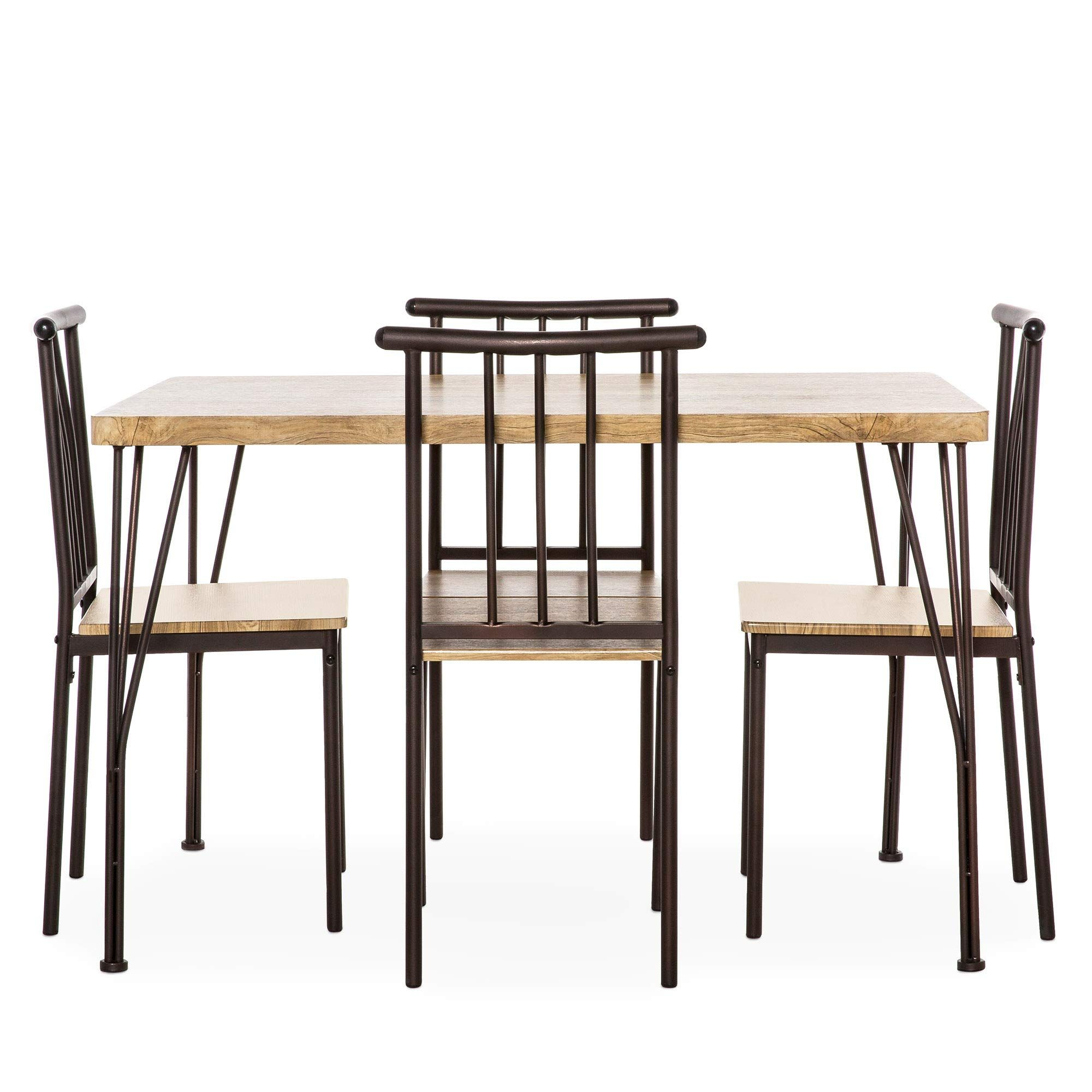 Best Choice Products 5 Piece Indoor Modern Metal And Wood Rectangular Dining Table Furniture Rectangular Dining Table Solid Oak Dining Table Wood Dining Table