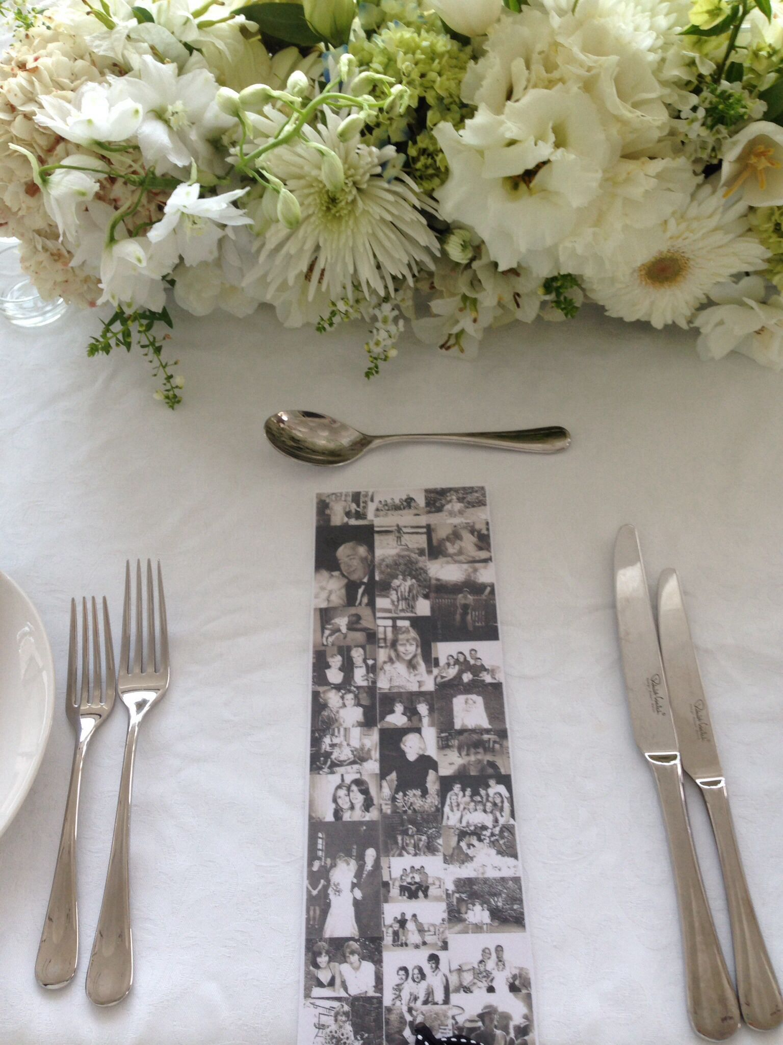 White flowers table setting 80th mommys birthday for 80 birthday party decoration ideas
