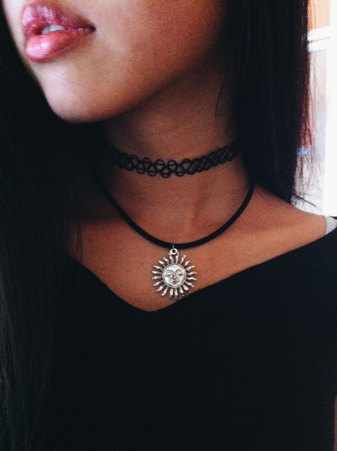 Luv this pair pair of necklaces a tattoo choker and a for Black tattoo choker