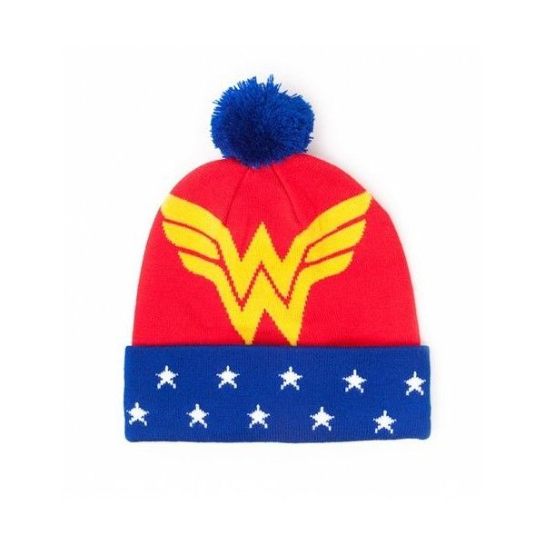 Wonder Woman Logo Knitted Bobble Hat ($24) ❤ liked on Polyvore featuring accessories, hats, logo hats, bobble hat and bobble beanie
