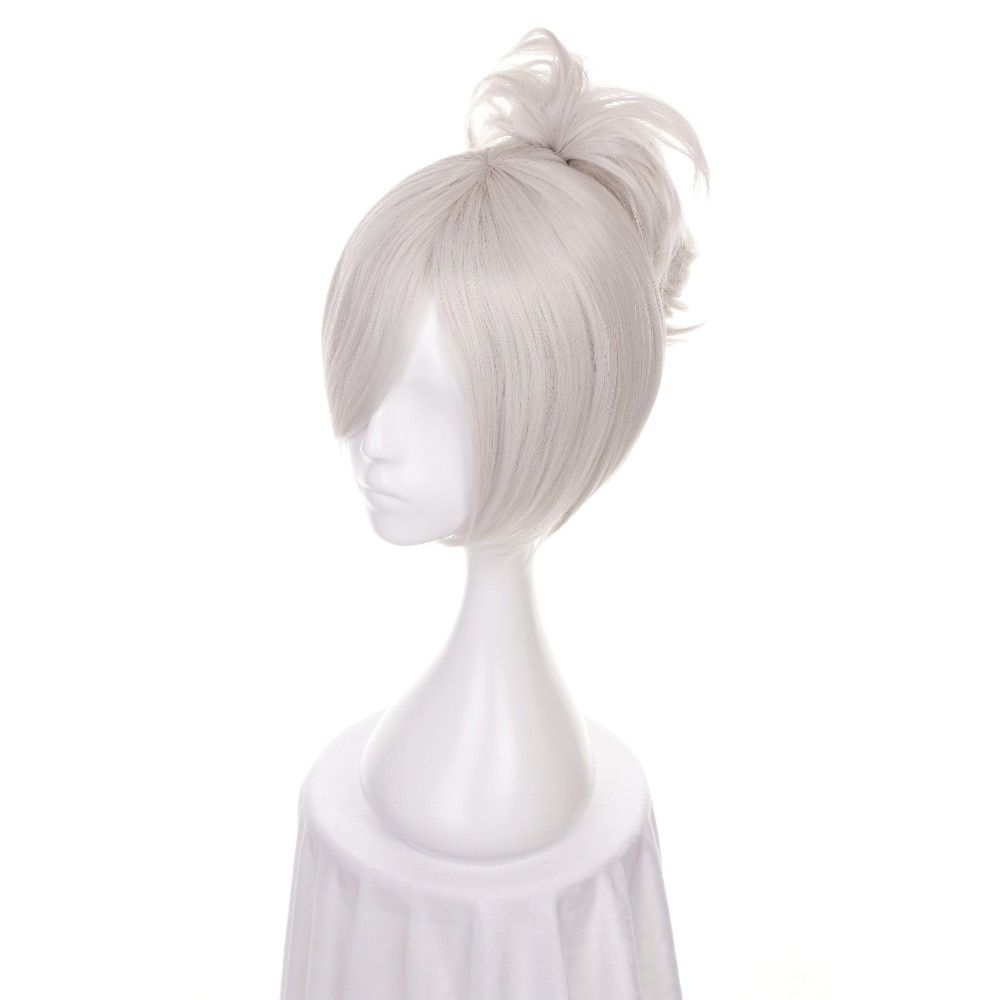 Synthetic None-lacewigs Ccutoo 12 Lol Riven Silver White Short Synthetic Wig Cosplay Costume Wig With Chip Ponytail Heat Resistance Fiber