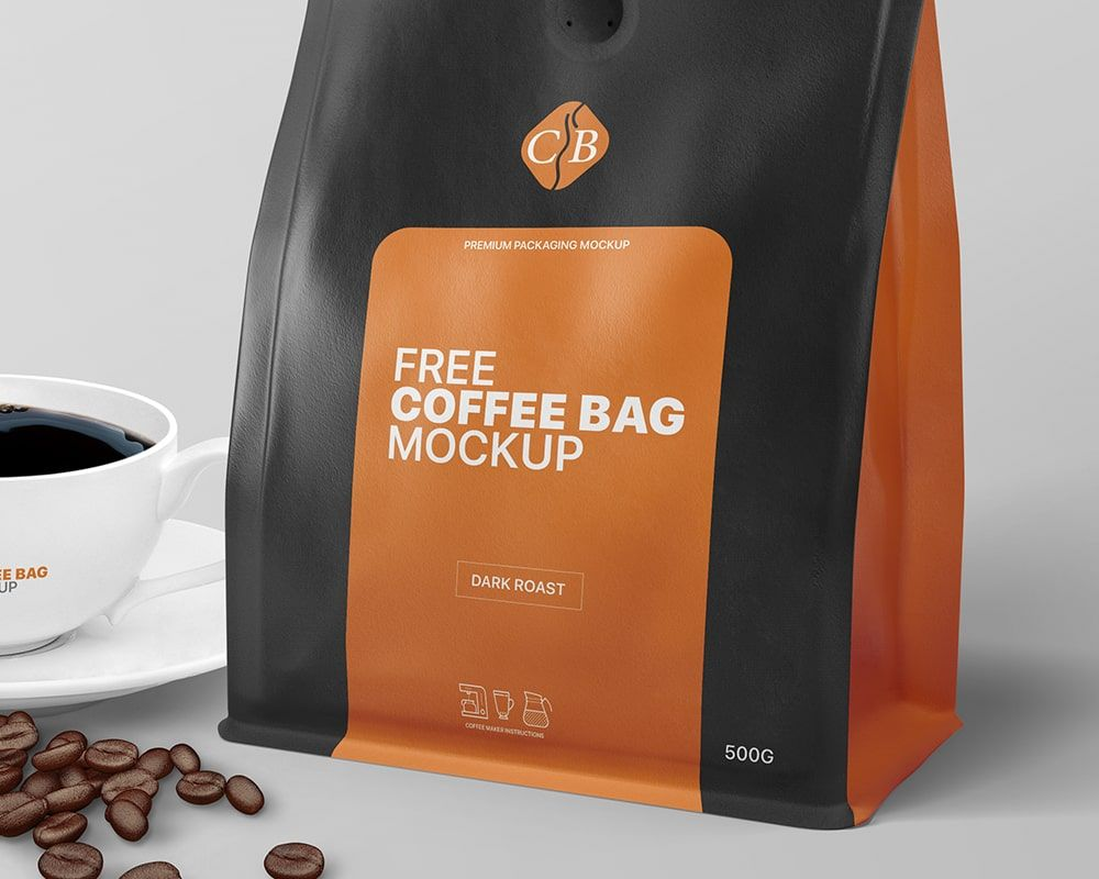 Download Coffee Bag And Cup Packaging Branding Mockup Free Package Mockups Branding Mockups Branding Mockups Free Branding
