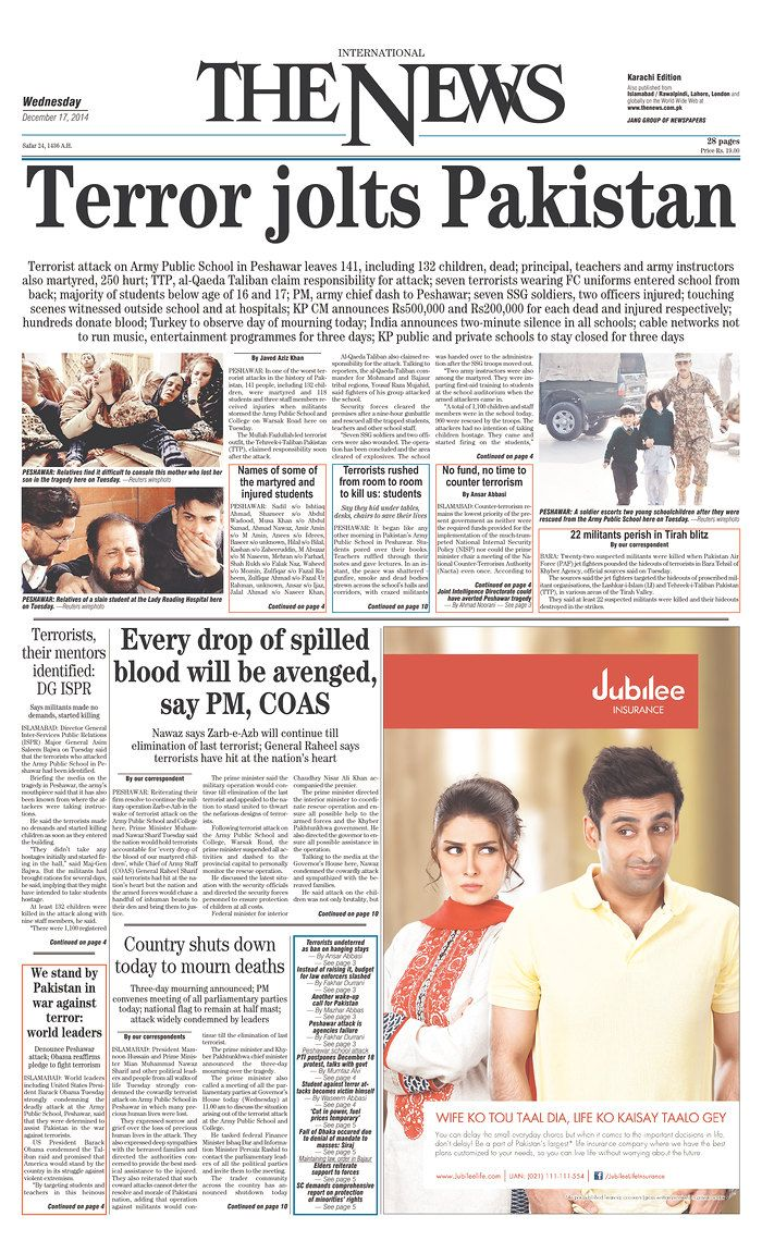 Today's Front Pages | Newseum - The International News on Peshawar attack