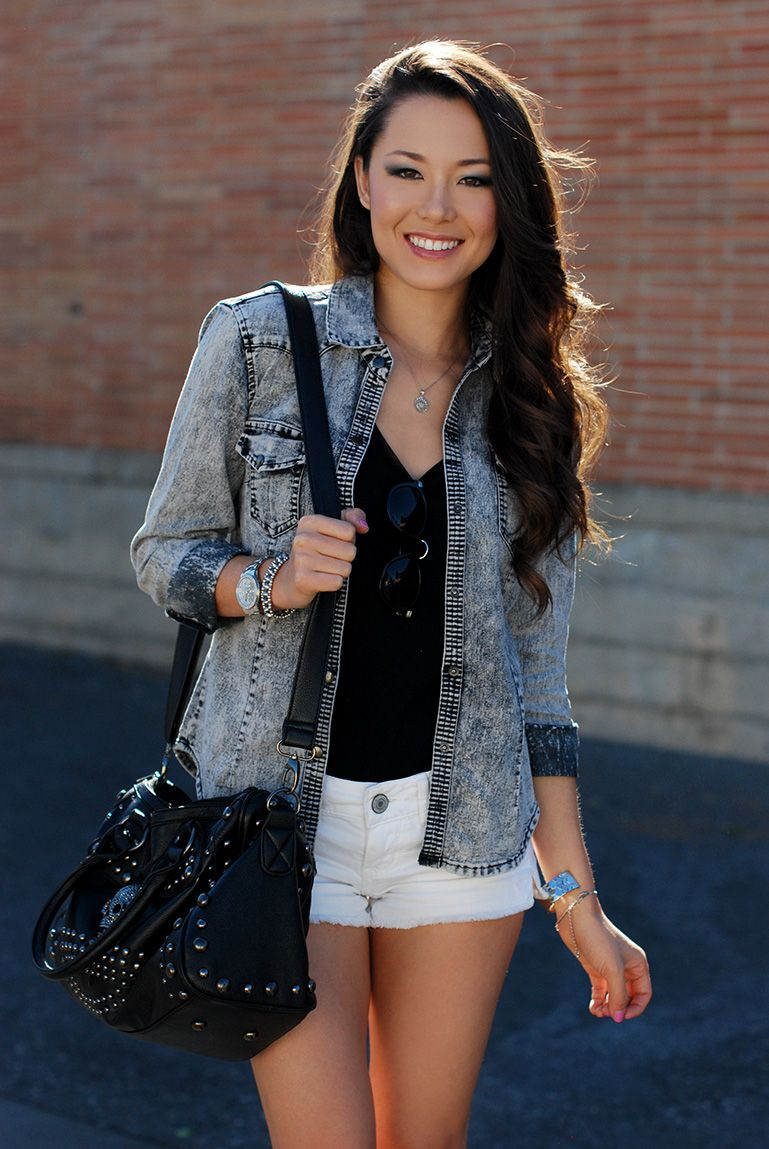 Jean jacket and white denim shorts. Outfit inspiration via Hapa ...