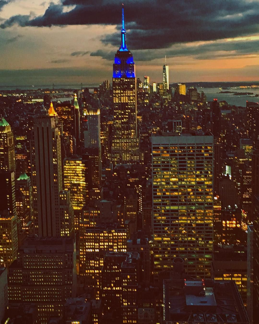 "pictures_of_newyork: ""Empire State Building is blue in honor of the United Nations' 70th Anniversary. Happy birthday United Nations!  #picturesofnewyork"""