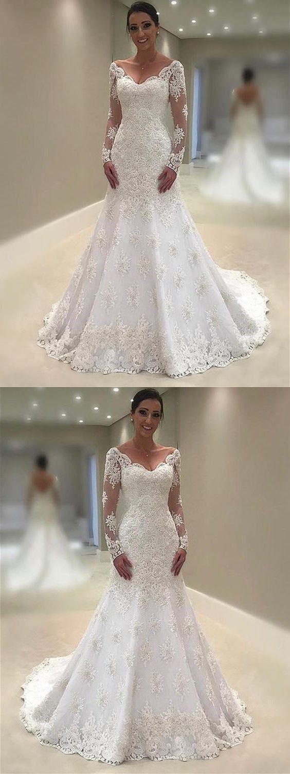 Elegant lace vneck neckline mermaid wedding dresses with appliques
